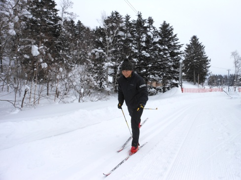 Cross country skiing with Saori