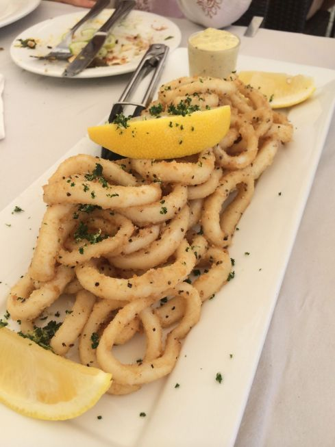 The salt and pepper calamari was tender and the batter crunchy.