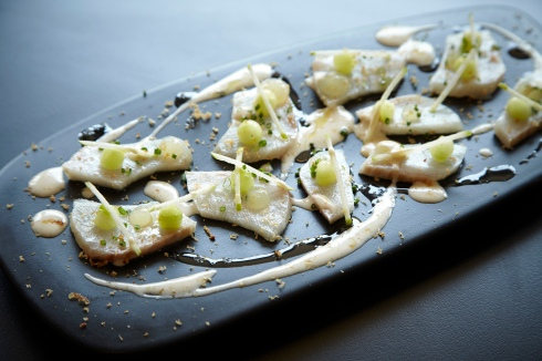 Cucumber cured kingfish - smoked oyster dressing, apple, lime copy